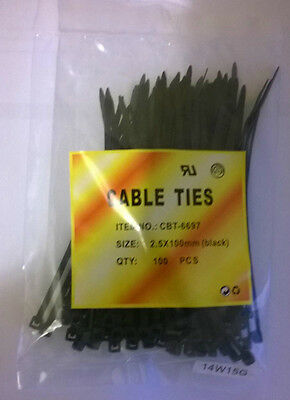 100 Small Black Cable Ties 100mm x 2.5mm.UK seller many uses