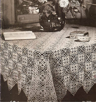 Vintage Crochet PATTERN to make Tablecloth Bedspread Motif Block Governors Lady