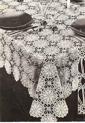 Vintage Crochet PATTERN to make Lucky Star Round Motif Tablecloth LuckyStar