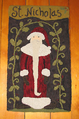 "Primitive Hooked Rug Pattern On Monks ""Nicholas"""