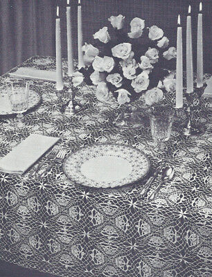 Vintage Crochet PATTERN to make Queen's Crown Tablecloth Motif Square Design