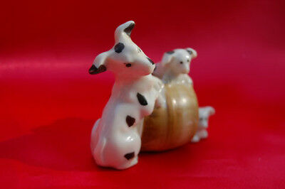 Occupied Japan     smooth fox Terrier mother dog w pups
