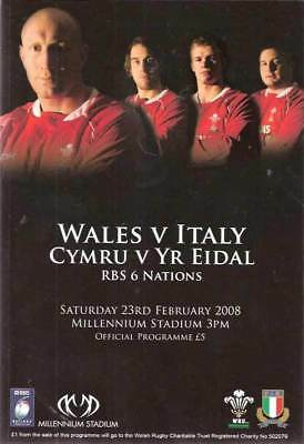 WALES v ITALY 2008 RUGBY PROG GRAND SLAM WALES