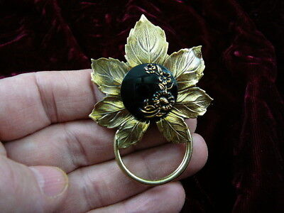 #E-743) Black gold flower Eyeglass pin pendant ID badge holder