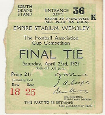 FA CUP FINAL TICKET 1927 CARDIFF CITY v ARSENAL