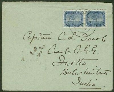 Cook Is. 1903 cover to Quetta/1900 Wrybill ½d pair