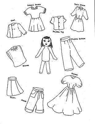 Vintage 1946 Sock Doll and 8 Piece Complete Wardrobe Pattern