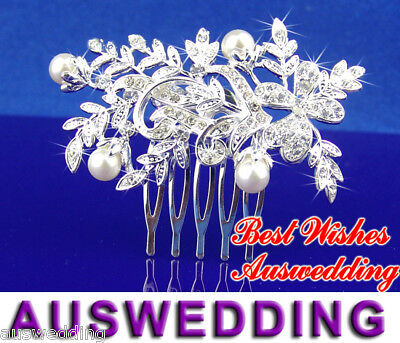 Wedding Bridal Flower Crystal Pearl Hair Comb 7.5cm