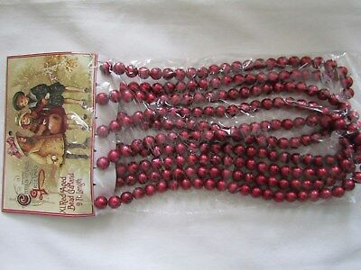 Aged RED Vintage style BEAD Tree Garland ~9 ft ~ NEW Ragon House