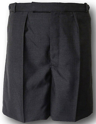 Grey Wool Worsted School Uniform Short Trousers / Shorts BUTTON FLY Adult Sizes
