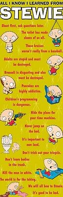 FAMILY GUY ~ STEWIE ALL I KNOW I LEARNED 21x62 DOOR POSTER NEW/ROLLED!