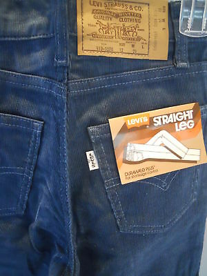 Nos DeadStock 70s Levis Straight Leg Corduroy Jeans Boys Youth Rockabilly Vtg 12