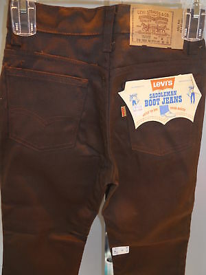 Nos Vintage 70s Brown LEViS Saddleman Boot Jeans Western Trousers Pants Boys 25