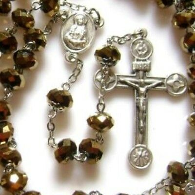 GOLD Glass Beads Rose Rosary Italy Cross Necklace CRUCIFIX CATHOLIC