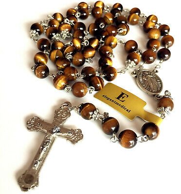 Rare 8MM Yellow Tiger Eye Jade Beads Rosary Cross CRUCIFIX CATHOLIC NECKLACE