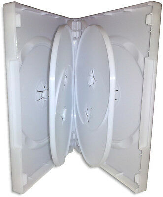 6-DISC 27mm =WHITE= DVD Boxes with Hinged Flaps 4-Pak