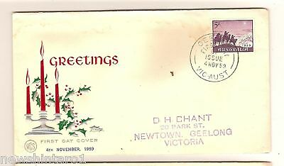 Wcs First Day Cover - Christmas 1959, Geelong