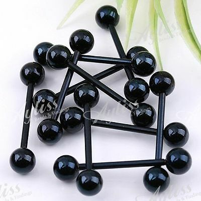 Black Stainless Steel Ball Tongue Ring Piercing 10P