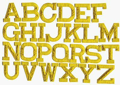 """Iron on Embroidered Alphabet Letters GOLD your choice 2"""" Tall"""