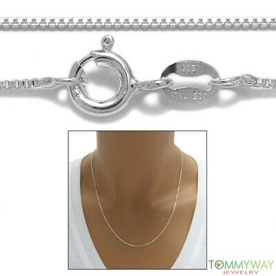 Sterling Silver BOX chain necklace 0.8mm 015 GAUGE