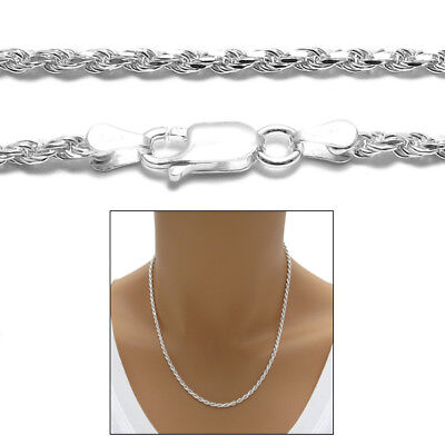 925 Sterling Silver Dia Cut Rope Chain Necklace 2.5mm (050 Gauge)