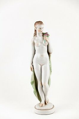 HEREND NUDE LADY WITH FLOWERS  Porcelain Hungary,RARE!