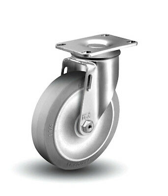 "Colson Swivel Caster with 4"" x 1-1/4"" Soft Gray Rubber Wheel 250# Cap 2-4256-445"