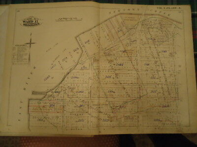 ORIG 1880 Green Point Brooklyn Atlas Map Plate A