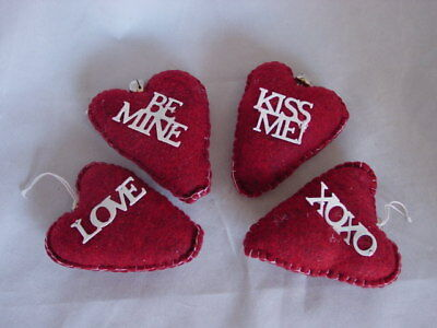 Cloth HEART Valentine Ornament w Sayings ~ Set 4 NEW Bowl fillers Love kiss me