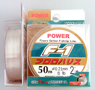 F1 Fishing Line 100% Fluorocarbon Leader 6lb 50m Trace Japanese Mono