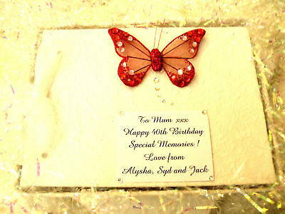 Personalised Red Butterfly Birthday Photo Album Guest Album Gift - Lots Colours!