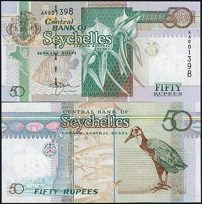 SEYCHELLES 50 RUPEES CURRENCY BANKNOTE P-38 c.1998 FISH & BIRD - UNC!