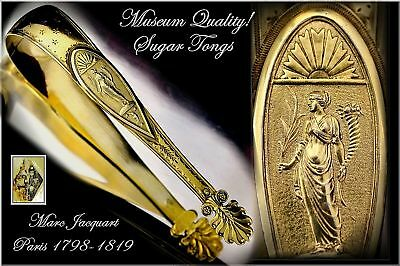 Rare Museum Quality Antique French Vermeil Sugar Tongs