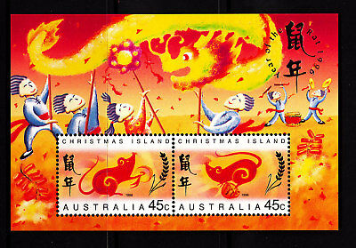 1996 Xmas Island Year of the Rat MUH Mini Sheet