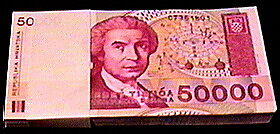 DEALER PACK OF 100 CROATIA 50,000 DINARA NOTES P-26a!