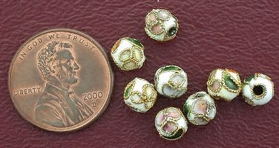 Eight 6Mm Floral Round White Cloisonne Beads
