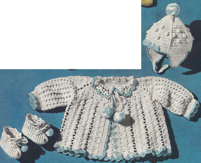 Vintage Crochet PATTERN to make Baby Sacque Hat Booties Set PomponSet
