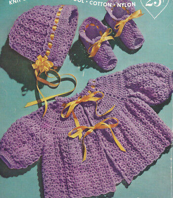 Vintage Crochet PATTERN to make Baby Set Sacque Hat Booties Soft Shoes PurpleSet