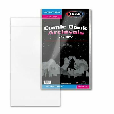 50 BCW Comic Book Mylar Bags Sleeves 2 mil Current Size