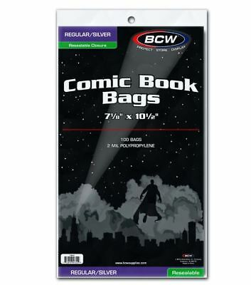 (200) BCW Silver Age / Regular Size Resealable Comic Book Bags Acid Free
