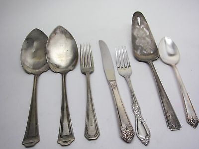 Silverplate ANTIQUE Assorted 7pc Lot Sheffield,Rogers,+
