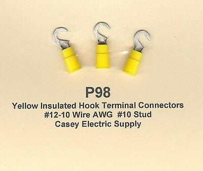25 Yellow Insulated HOOK Terminals Connectors #12-10 Wire AWG Gauge #10 Stud USA