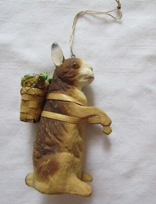 Vintage style BROWN RABBIT w Basket Ornament ~ NEW