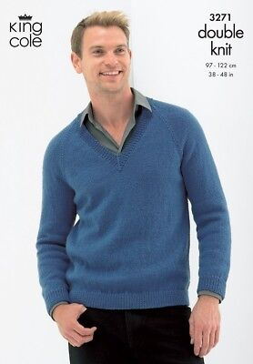 King Cole Gents DK Jumper Cardi Slipover Knitting Pattern 3271