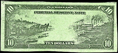US $10 LARGE SIZE GREENBACK FED RESERVE TYPE PROP BILL!