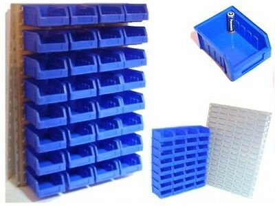 32 Blue Storage / Stacking Bins With Steel Wall Mount