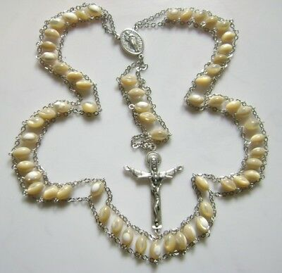 * Mother-of-Pearl * LADDER ROSE ROSARY ITALY CROSS CRUCIFIX CATHOLIC NECKLACE
