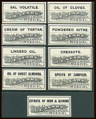 NEW ZEALAND CHEMIST BOTTLE LABELS x9 DIFFERENT DRUGS