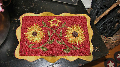 "Primitive Punch Needle Pattern ~  ""Tangled Sunflowers"""