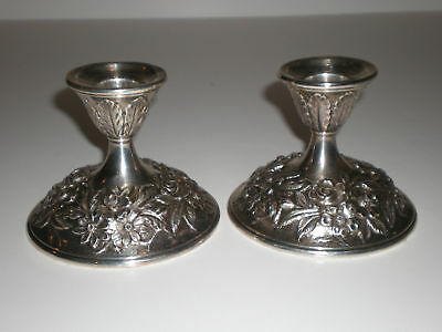 Vtg Pair of Kirk & Son .925 Sterling Silver Candlestick Repousse Candle Holders
